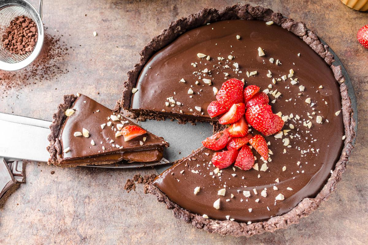 Vegan Chocolate Tart with Rhubarb